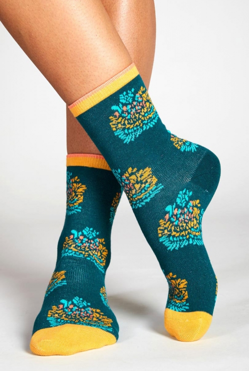Teal Blue Sustainable Petal Organic Cotton Socks