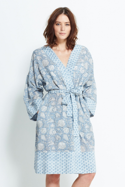 Blue Block Printed Robe
