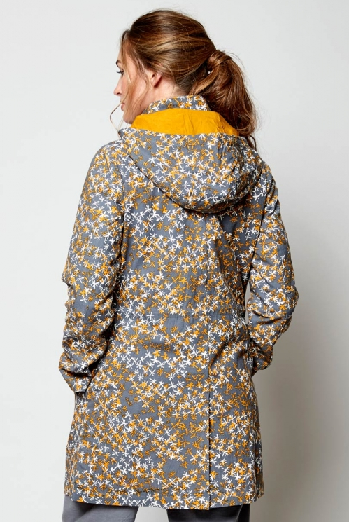 Ethically Made Aniseed Organic Cotton Printed Canvas Raincoat