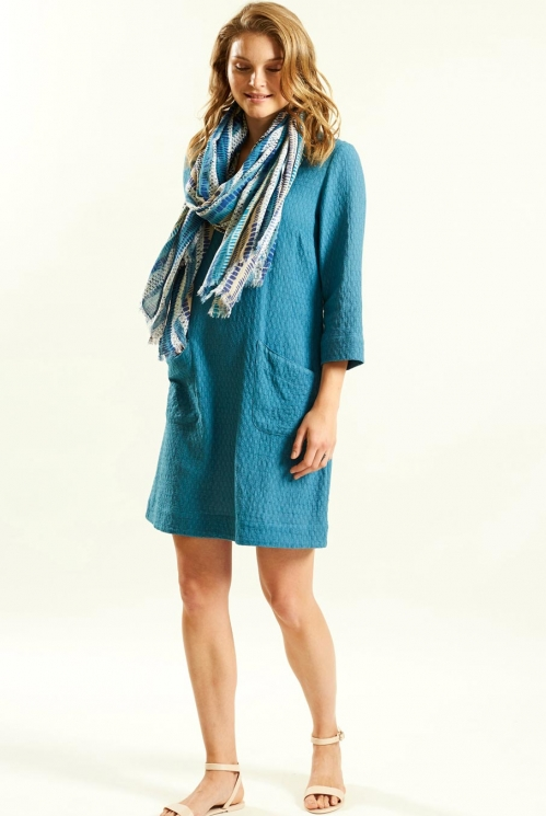 Stripe Viscose Scarf in Woven Viscose xtra view of Aegean Blue