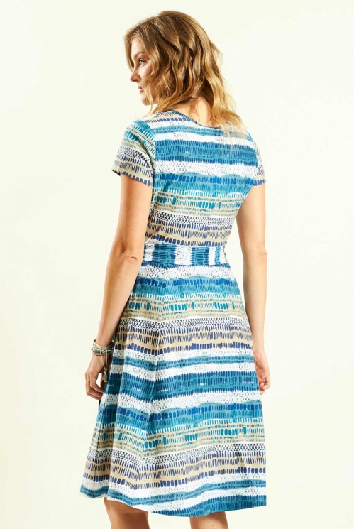 Cross Front Dress in Aegean Blue - back view