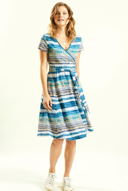 Cross Front Dress in Organic Cotton Jersey xtra view of Aegean Blue 2