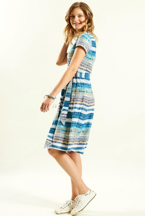 Cross Front Dress in Organic Cotton Jersey xtra view of Aegean Blue