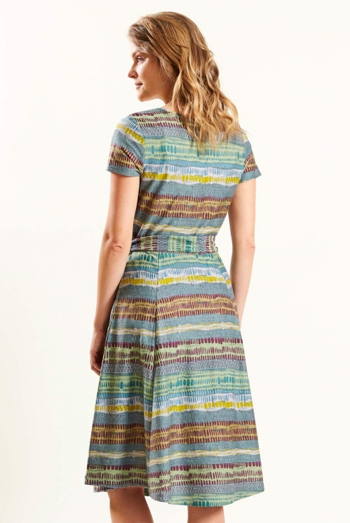 Cross Front Dress in Verdigris - back view