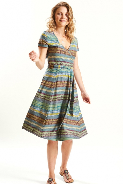 Cross Front Dress in Organic Cotton Jersey xtra view of Verdigris