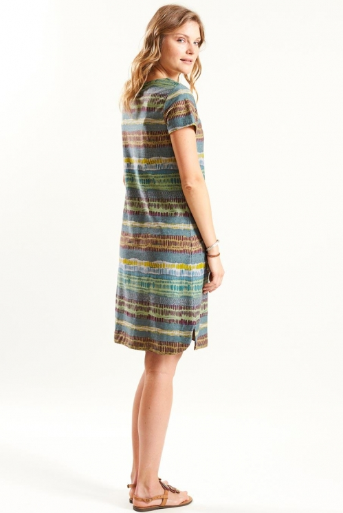Stripe Tunic Dress in Organic Cotton Jersey xtra view of Verdigris
