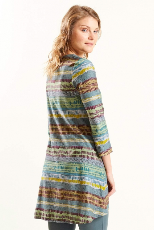Stripe Scoop Hem Tunic in Verdigris - back view