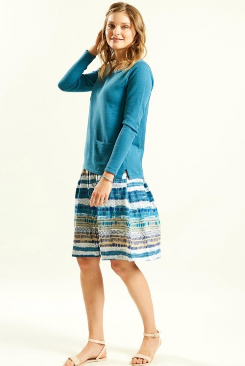Stripe Jersey Skirt in Organic Cotton Jersey xtra view of Aegean Blue