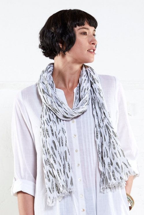 White Printed Silhouette Scarf