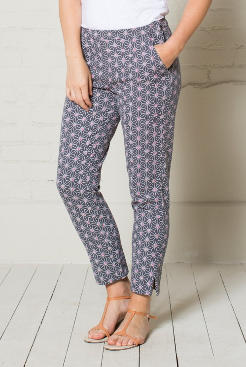 Grey Canvas Printed Trouser