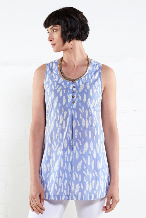 Chambray Printed Tunic Vest