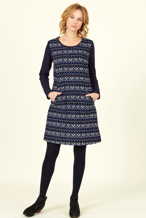 Navy Blue Fair Trade Cotton Cord Pinafore Dress
