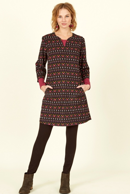 Chocolate Brown Sustainable Cotton Cord Tunic Dress
