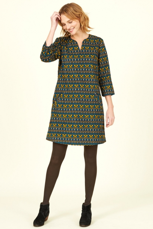 Ink Blue Ethically Made Cotton Cord Tunic Dress