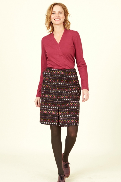 Sustainable Chocolate Brown Souk Cotton Cord Skirt