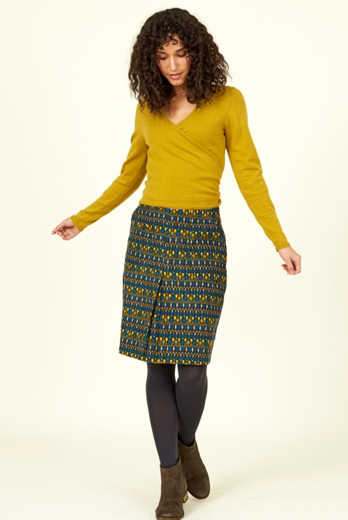 Ink Blue Ethically Made Souk Cotton Cord Skirt