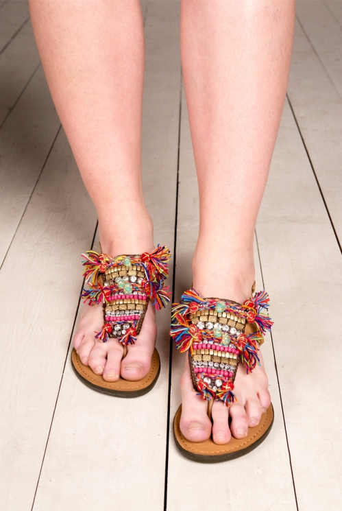 Multi-Coloured Embroidered Sandals