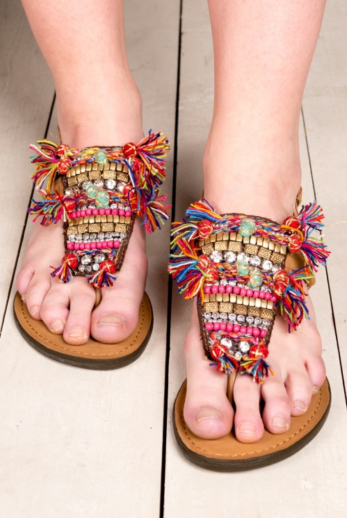 Multi-Coloured Embroidered Sandals (back)