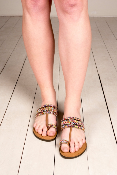 Multi-Coloured Beaded Sandals