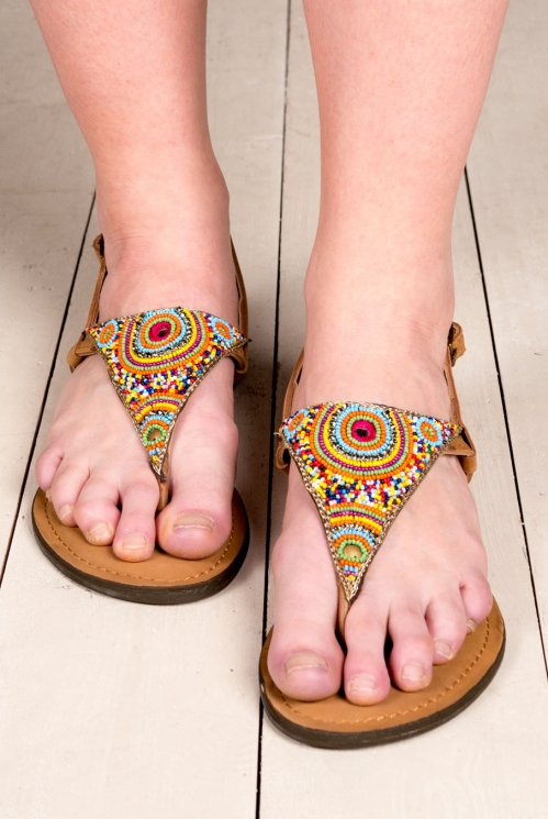 Multi-Coloured Embroidered Triangle Sandals (back)