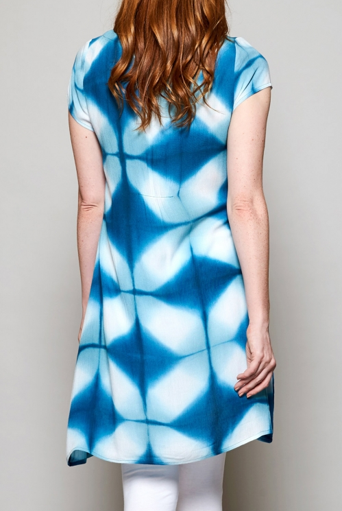 Teal Blue Ethically Made Tie Dye Tunic Dress