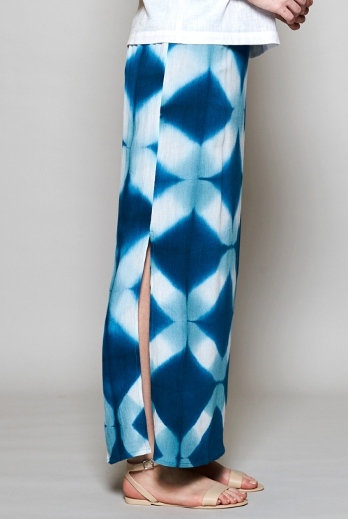 Teal Blue Ethically Made Tie Dye Maxi Skirt