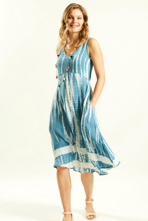Tie Dye Dress in Crinkle Viscose xtra view of Lagoon