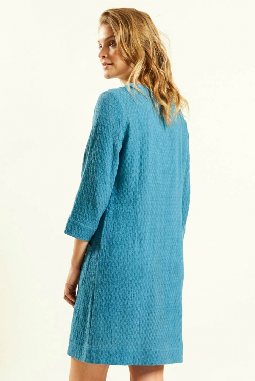 Plain Tunic Dress in Lagoon - back view