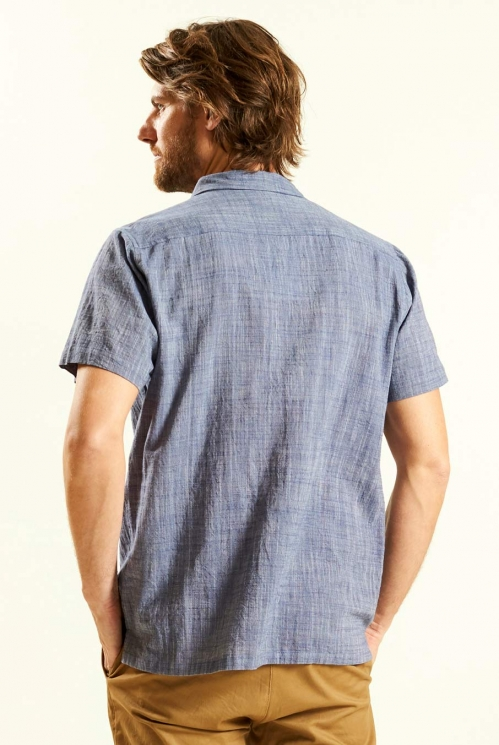 Handloom SS Shirt in Indigo - back view