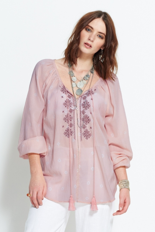 Dusky Pink Boho Embroidered Top