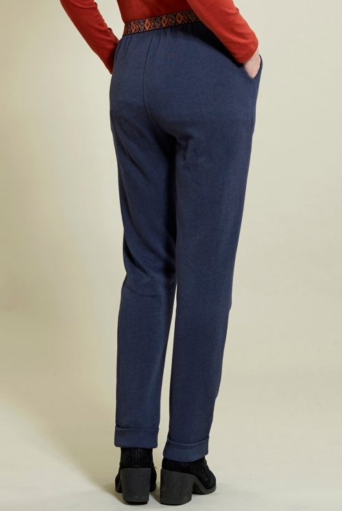 Jersey Trouser in Denim - back view