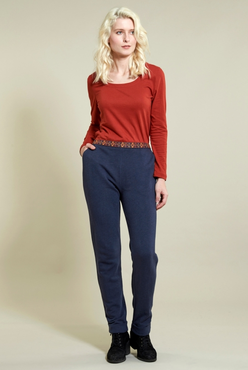 Jersey Trouser in Organic Cotton Terry Jersey xtra view of Denim