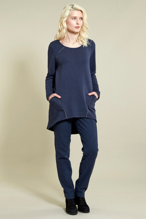 Scoop Hem Tunic in Organic Cotton Terry Jersey xtra view of Denim