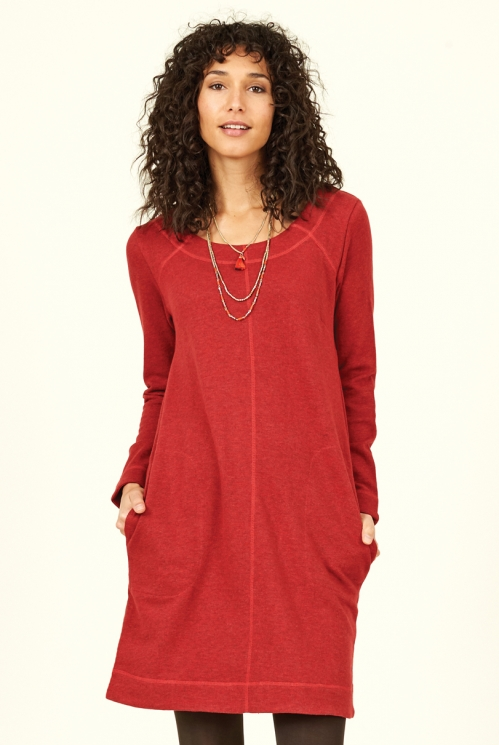 Holly Red Sustainable Organic Cotton Terry Tunic Dress