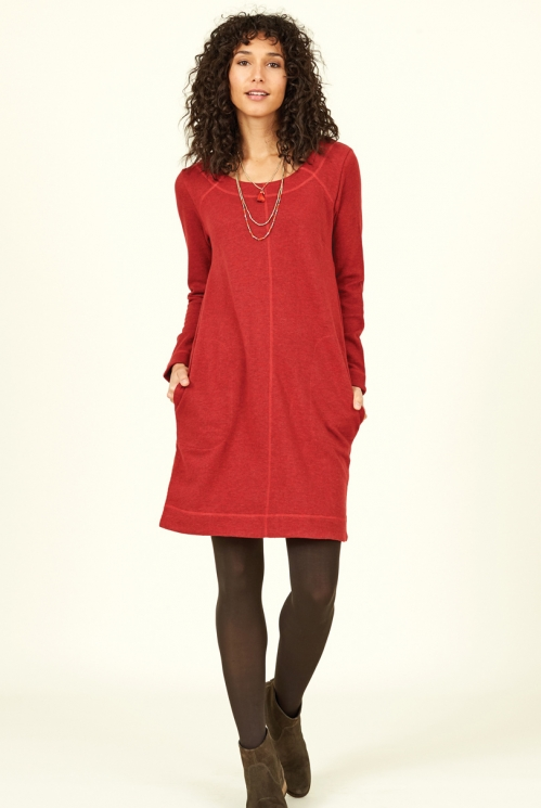 Sustainable Holly Red Organic Cotton Terry Tunic Dress
