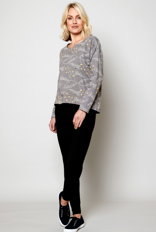 Silver Ethically Made Scoop Hem Top