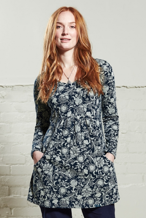 Navy Blue Floral Tunic Top