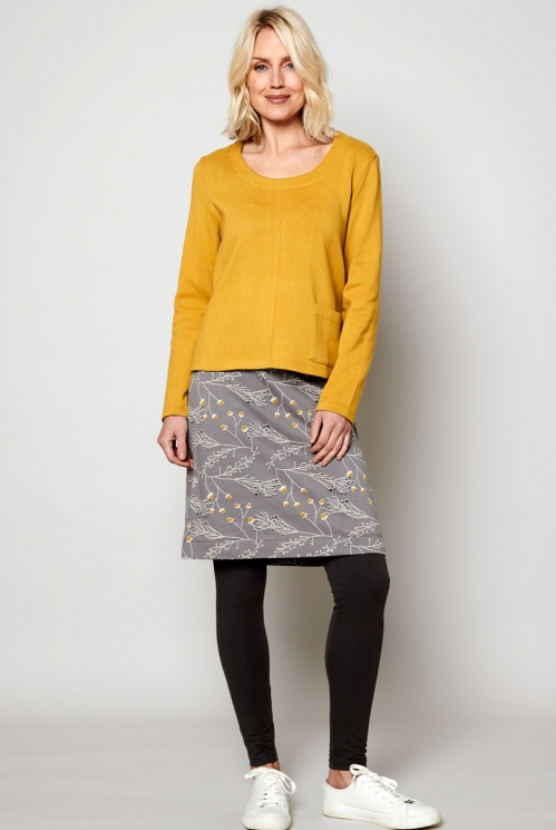 Ethically Made Silver Terry Jersey Skirt