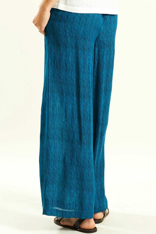 Wide Trousers in Aegean Blue - back view