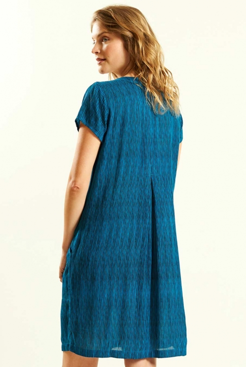 Pocket Crinkle Dress in Aegean Blue - back view