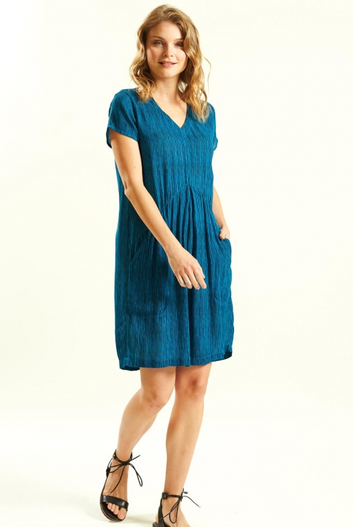 Pocket Crinkle Dress in Crinkle Viscose xtra view of Aegean Blue