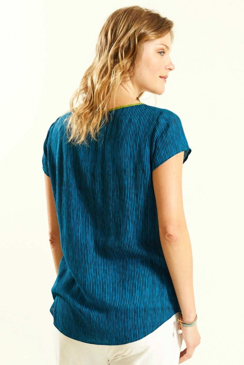 Seam Detail Top in Aegean Blue - back view