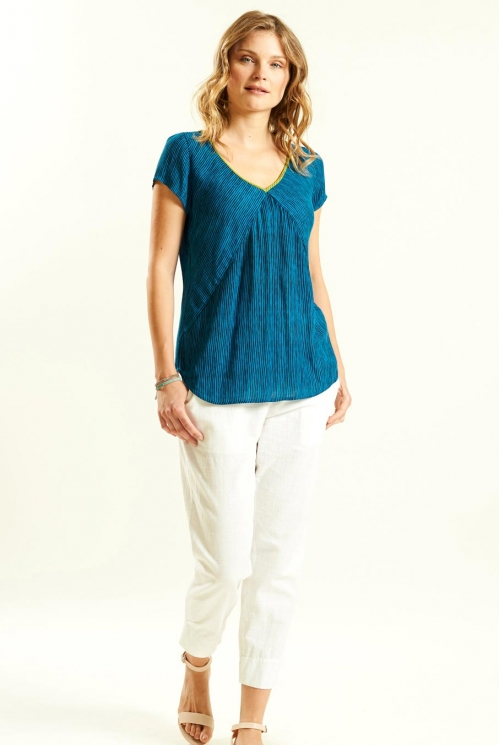 Seam Detail Top in Crinkle Viscose xtra view of Aegean Blue