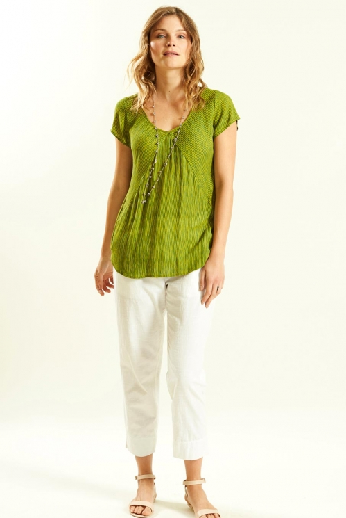 Seam Detail Top in Crinkle Viscose xtra view of Avocado
