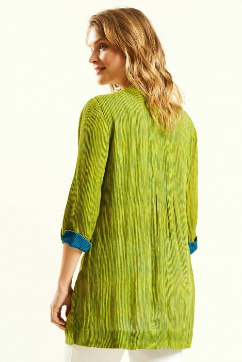 Pleat Detail Tunic in Avocado - back view