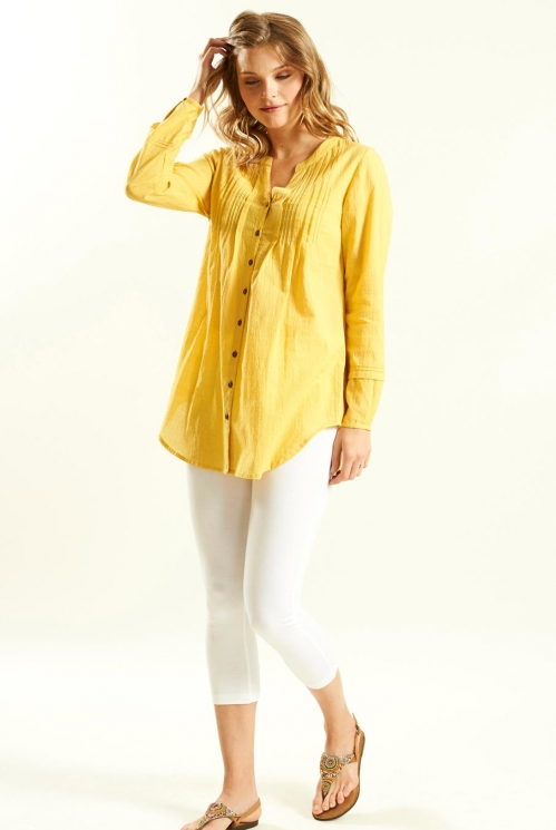 Pleat Detail Shirt in Textured Cotton xtra view of Honey