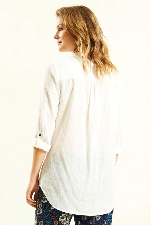 White Pleat Detail Shirt