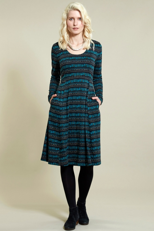 Long Sleeve Dress in Organic Cotton Jersey xtra view of Pacific Blue