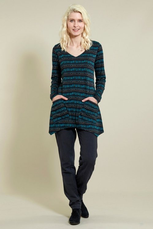 Point Hem Tunic in Organic Cotton Jersey xtra view of Pacific Blue