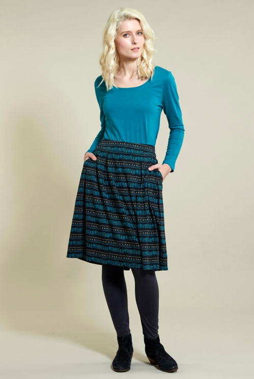 Pleated Pocket Skirt in Organic Cotton Jersey xtra view of Pacific Blue